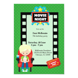 Movie night * choose background color 5x7 paper invitation card