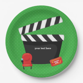 Movie night * choose background color 9 inch paper plate