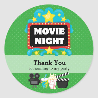 Movie Night * choose background color Classic Round Sticker
