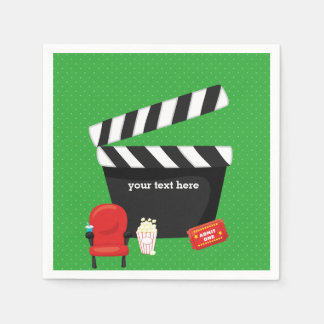 Movie night * choose background color standard cocktail napkin