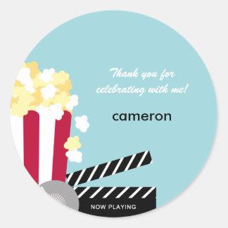 Movie Night Favor Sticker or Envelope Seal