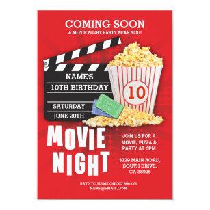 movie night film cinema birthday party red invite