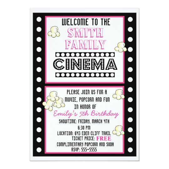 Movie night film strip popcorn birthday invitation zazzle movie night film strip popcorn birthday invitation filmwisefo