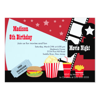Movie Night Kids Birthday Party Invitation