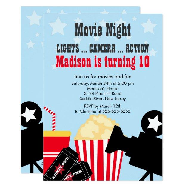 Movie Night Kids Birthday Party Invitation | Zazzle