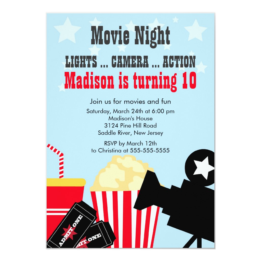 Movie Night Kids Birthday Party Invitation