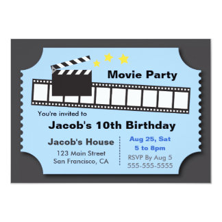 Movie Night Party, Birthday Party Card