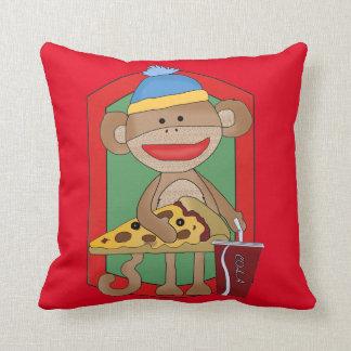 Movie Night Pizza Party Monkey Family Room Pillow