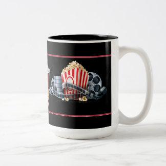 Movie Night Popcorn Black Coffee Mug Two-Tone Mug