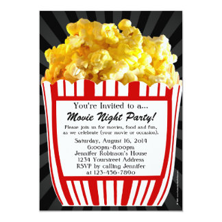 Movie Night Popcorn Custom Party Invitations