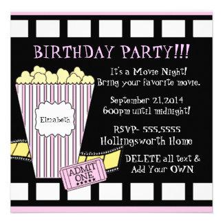 Movie Night-Popcorn Film Strip Invites