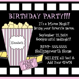 Movie Night Popcorn Film Strip Party In Pink Invitation