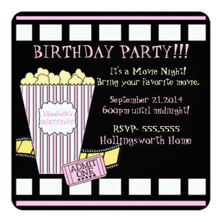 Movie Night Popcorn Film Strip Pink Girls Party Card