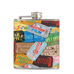 Movie Night Ticket Patterned Flask