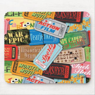 Movie Night Ticket Patterned Mousepad