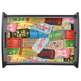 Movie Night Ticket Patterned Serving Tray