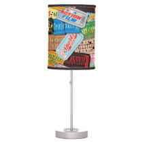 Movie Night Ticket Patterned Table Lamp