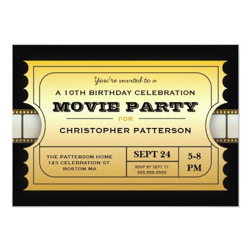 Movie Party Birthday Party Admission Gold Ticket 5x7 Paper Invitation Card