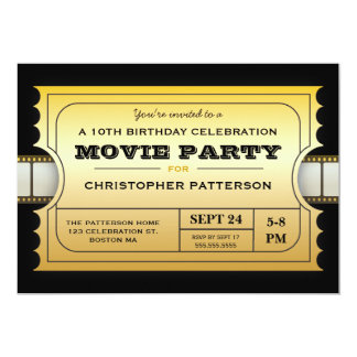 Movie Party Birthday Party Admission Gold Ticket Card