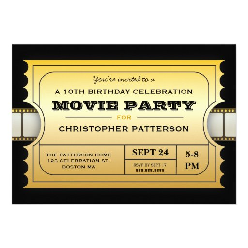 Personalized movie birthday party invitations custominvitations4u movie party birthday party admission gold ticket personalized invitation stopboris Choice Image