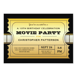 movie party birthday party admission gold ticket invitation