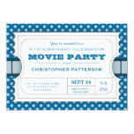 Movie Party Birthday Party Admission Ticket | Blue 5x7 Paper Invitation Card