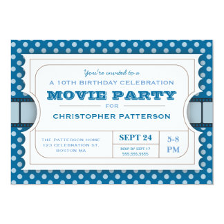 Movie Party Birthday Party Admission Ticket | Blue Card