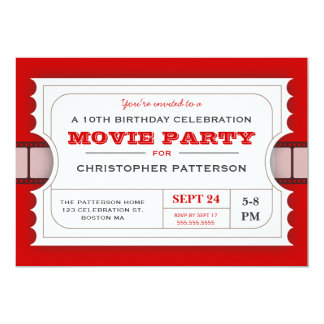 Movie Party Birthday Party Admission Ticket 5x7 Paper Invitation Card