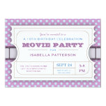 Movie Party Birthday Party Admission Ticket Purple 5x7 Paper Invitation Card