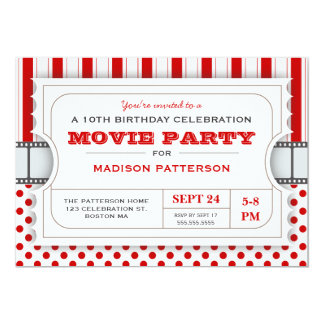 Movie Party Birthday Party Admission Ticket | Red 5x7 Paper Invitation Card