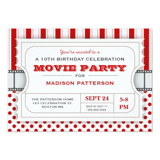 Movie Party Birthday Party Admission Ticket Red 5x7 Paper Invitation Card