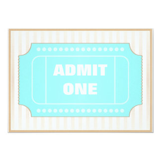 Movie Party Brown Blue 5x7 Paper Invitation Card