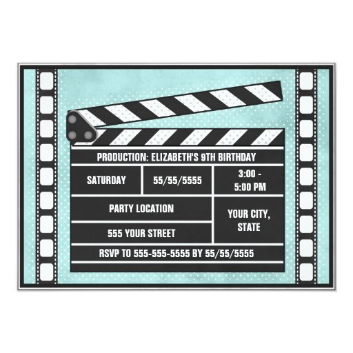 Movie Party Clapboard Blue Card