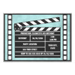 Movie Party Clapboard Blue Invitations
