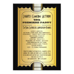 Movie Party Program Golden Admission Ticket Personalized Invitations