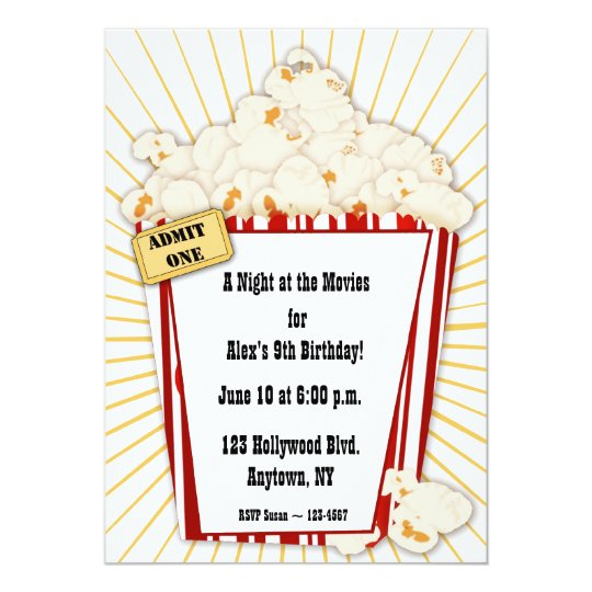 Movie Popcorn Invitation