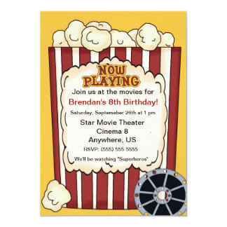 Movie Popcorn Kids Birthday Invitation