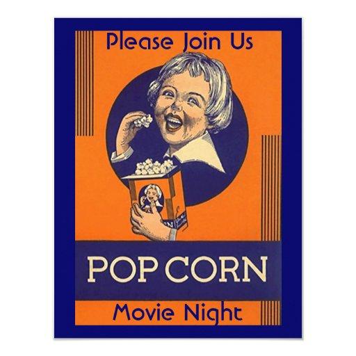 MOVIE & POPCORN PARTY INVITATION HOME THEATER NITE