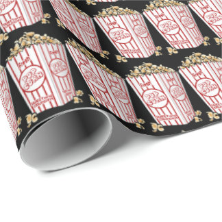 Movie popcorn pattern wrapping paper themed