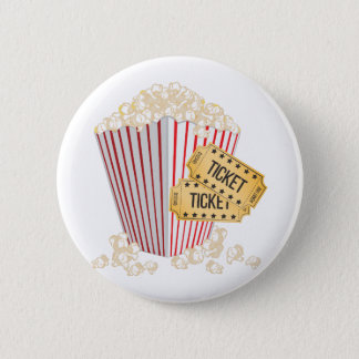 Movie Popcorn Pinback Button