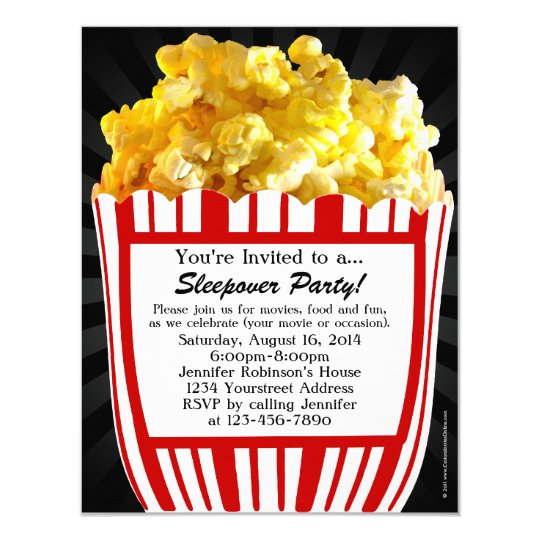 Movie Popcorn Sleepover Custom Party Invitations Zazzlecom