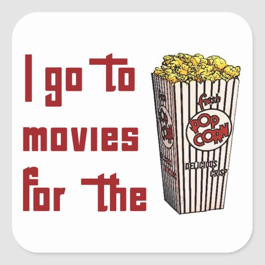 Movie Popcorn Square Sticker