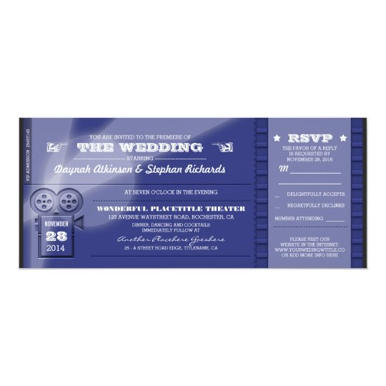 movie premiere wedding tickets invitations zazzle com