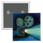 Movie projector colorful expressive painting art pin