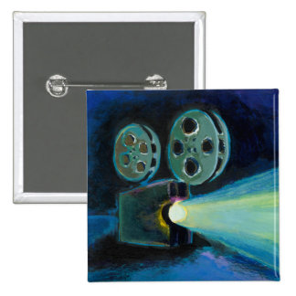 Movie projector colorful expressive painting art button