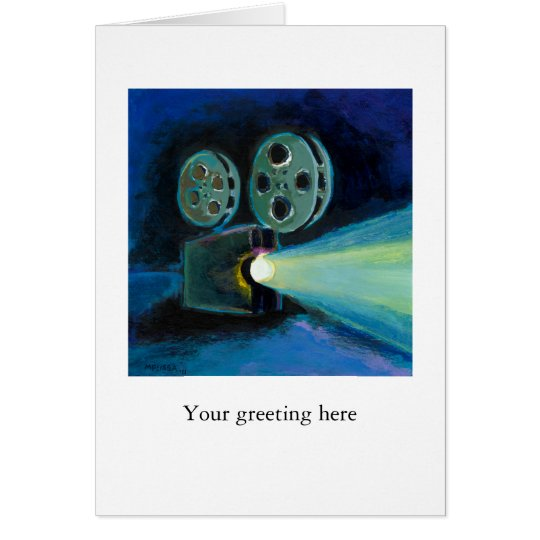 Movie projector colorful expressive painting art card