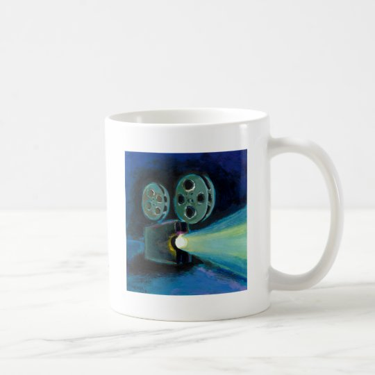 Movie projector colorful expressive painting art coffee mug
