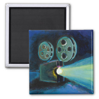 Movie projector colorful expressive painting art magnet