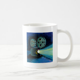 Movie projector colorful expressive painting art classic white coffee mug