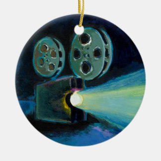 Movie projector colorful expressive painting art christmas ornament